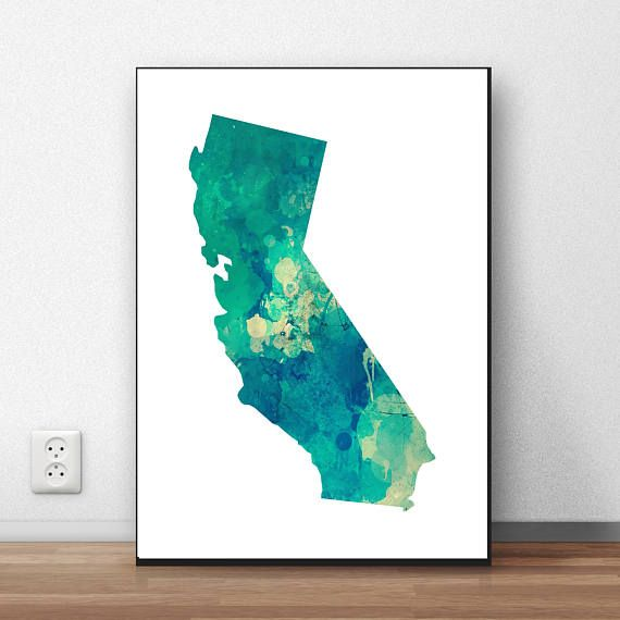 California Map Print California Wall Art California State
