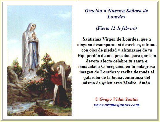 Estampas Oraciones De Nuestra Señora De Lourdes Oraciones Oracion A La Virgen Oración Para Hoy