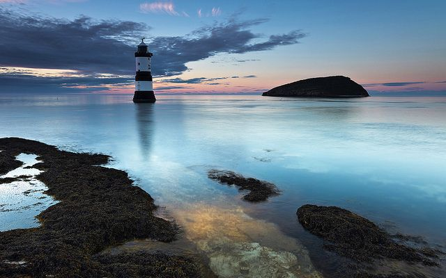 Penmon Lighthouse and Puffin Island at Penmon Point on the