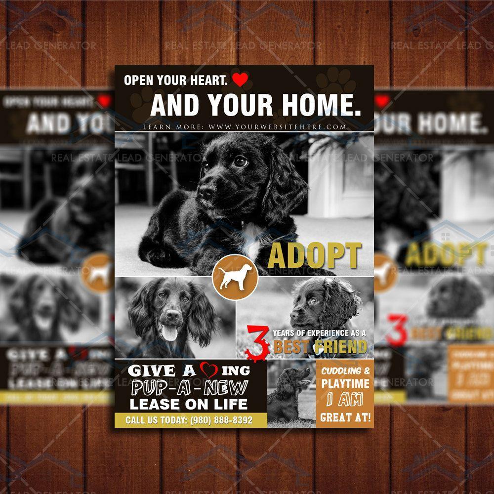 Instant Download 5x7 Dog Adoption Flyer Template Shelter Pet Profile Marketing I Love Dogs Dog Adoption Event Dog Adoption Adoption
