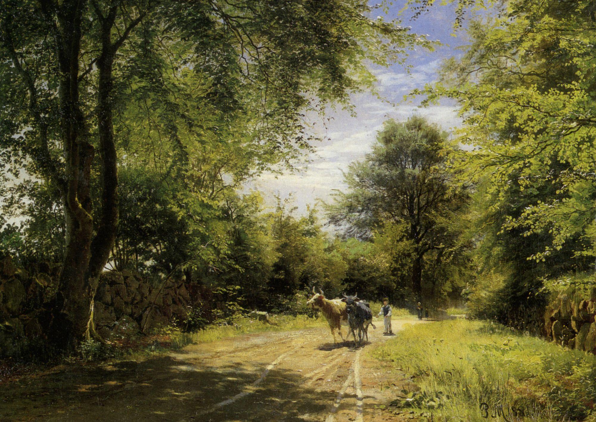"Peder Mork Monsted (Peder Mork Mønsted) (1859-1941) The Young Cowherd Oil On Canvas -1881 61 x 87 cm (24.02"" x 34¼"")"