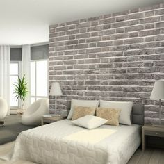 Dining Charcoal Brick Wallpaper From Watts London