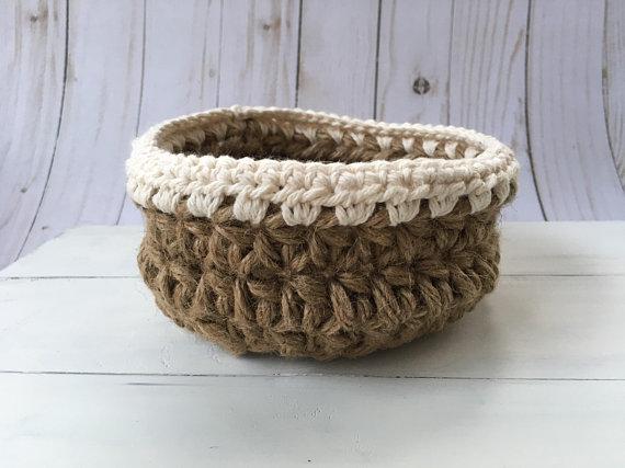 Jute Rope basket, catch all crochet basket, rope basket