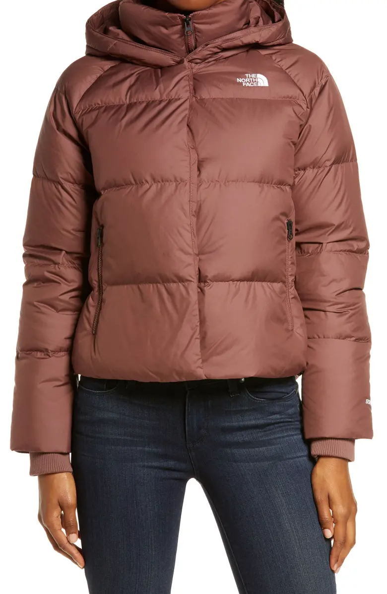 The North Face Dealio 550 Fill Power Crop Hooded Down Jacket Nordstrom Down Jacket Jackets Brown Puffer Jacket [ 1196 x 780 Pixel ]