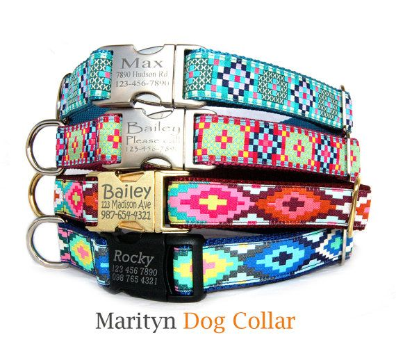 personalized dog collar laser engraved metal buckle dog collar