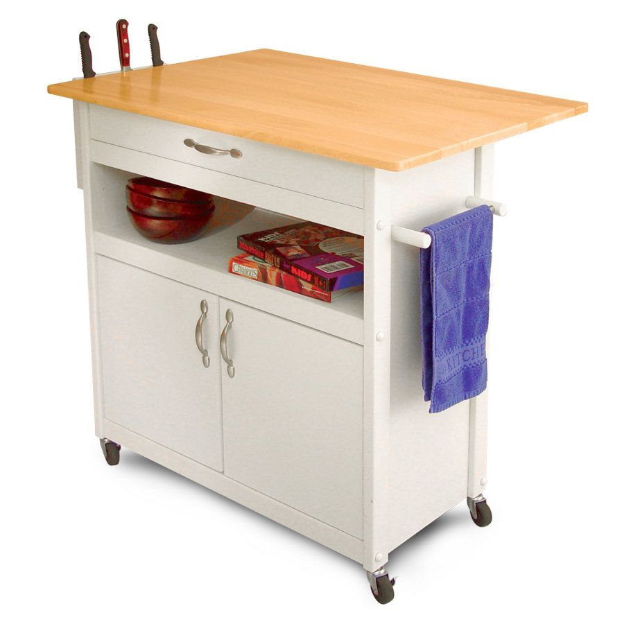 Catskill Dropleaf Utility Cart  White Painted Base & Knife Rack Pleasing Kitchen Cart With Drop Leaf Design Ideas