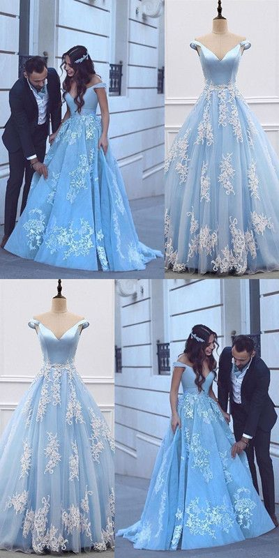 Satin And Tulle Light Blue Ball Gown Prom Dresses 2018 Lace Appliques Evening Gowns For Engagement Party #dressesforengagementparty