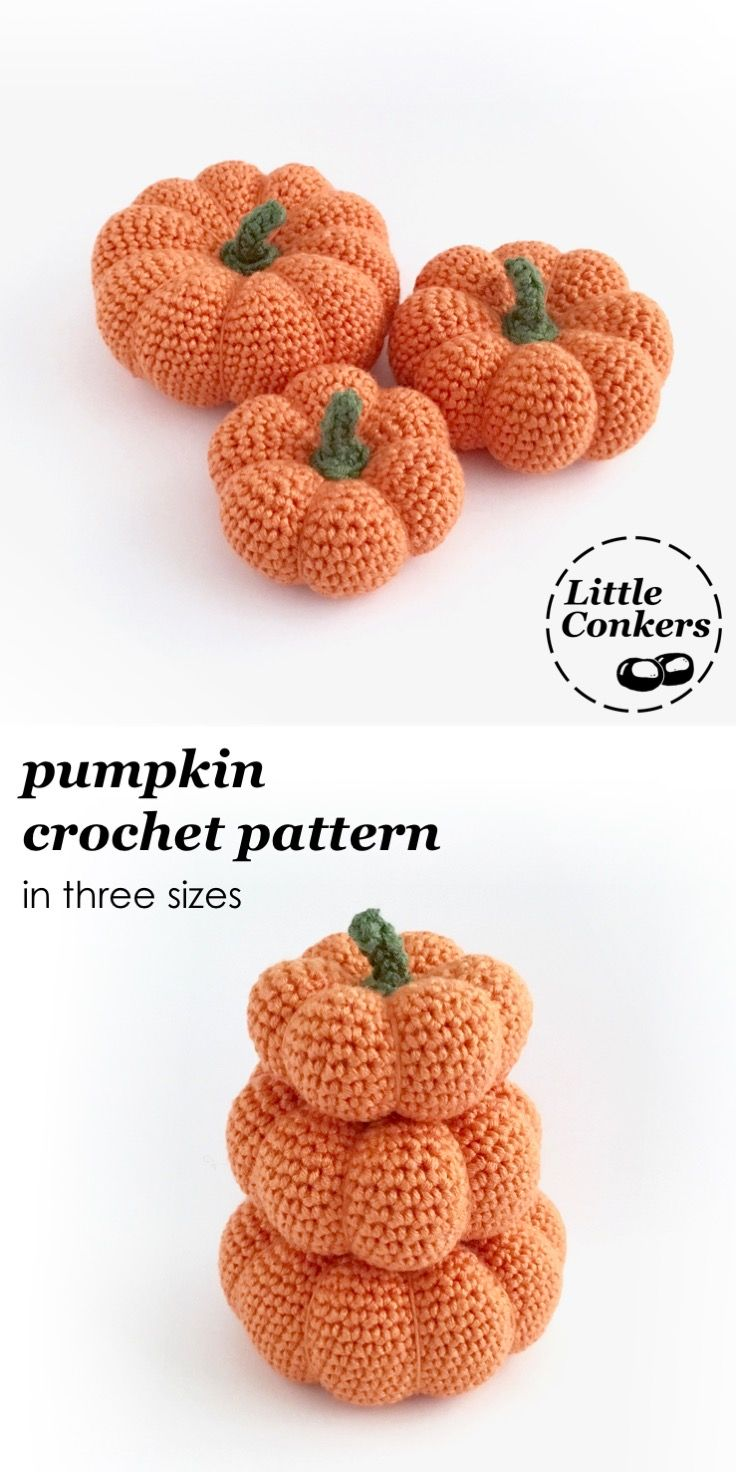 Three Pumpkin Crochet Pattern - Pumpkin and Gourd Series | Crochet ...