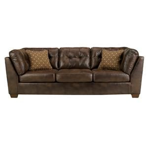 Signature Design By Ashley Frontier   Canyon Tufted Faux Leather Sofa   Lapeer  Furniture U0026 Mattress