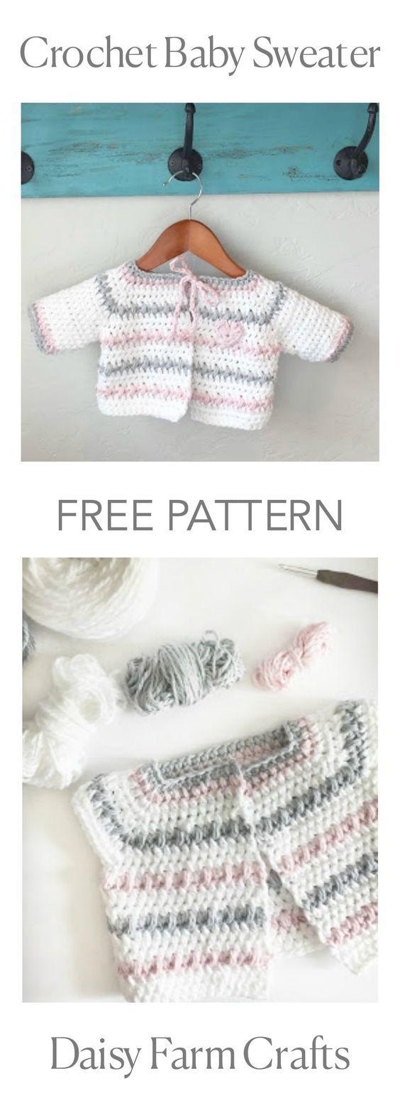 FREE PATTERN - Crochet Baby Sweater | crotchet | Pinterest | Saco de ...