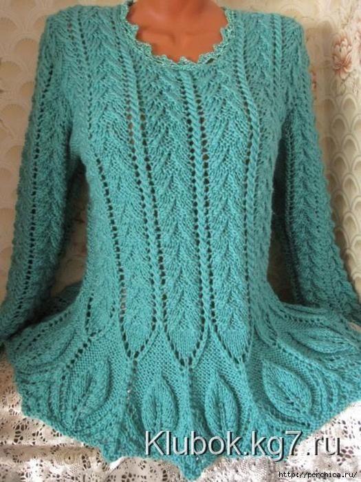 Пуловер с красивым низом связанный спицами. Обсуждение на LiveInternet - Российский Сервис Онлайн-Дневников
