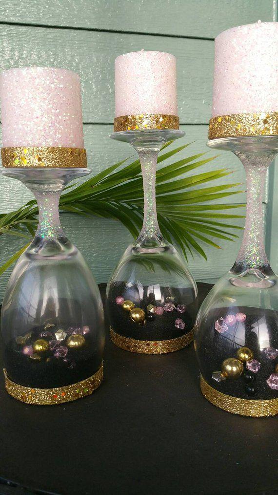 Kopf Weinglas Kerzenhalter-3er Set