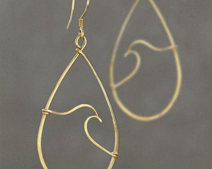 Photo of Ocean wave hoop earrings Sterling silver Free US Shipping | Etsy