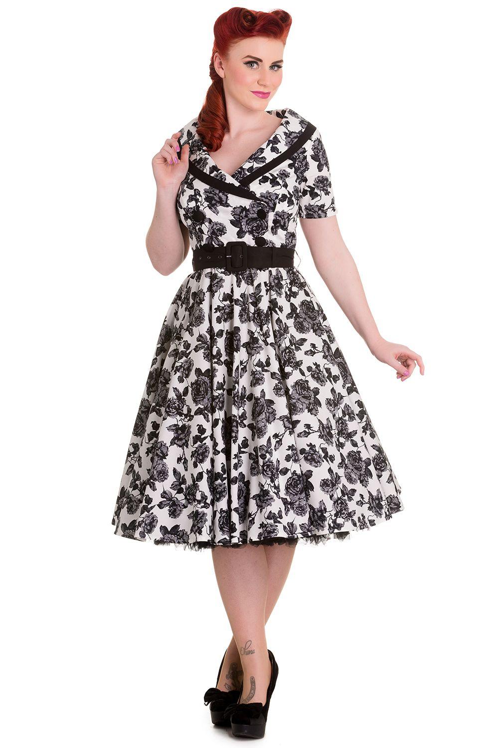 50'er kjole Super smuk hvid kjole med roser.Kjolen har bred krave, stofbetrukne…