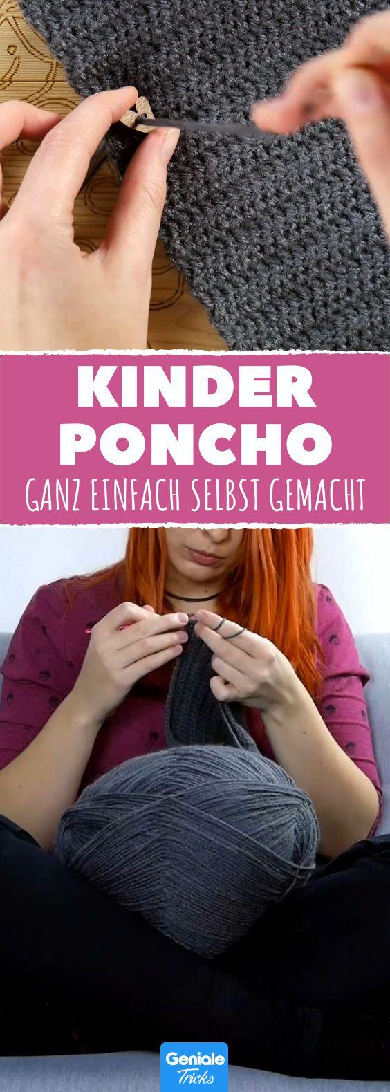 Ein wunderschöner Poncho für Kinder - einfach selbermachen! #diy #selbermachen #häkeln #wolle # kinder #kleider #oberteil #warm #strickenundhäkeln