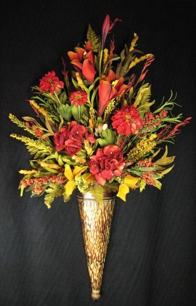 Tuscan Red And Gold Wall Cone Floral Arrangement Silk Flowers Gorgeous With Some Feathe Silk Floral Arrangements Floral Arrangements Floral Centerpieces