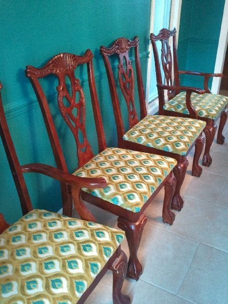 Reupholstered Chippendale Chairs With Hamilton Grenoble Fabric Dining Room