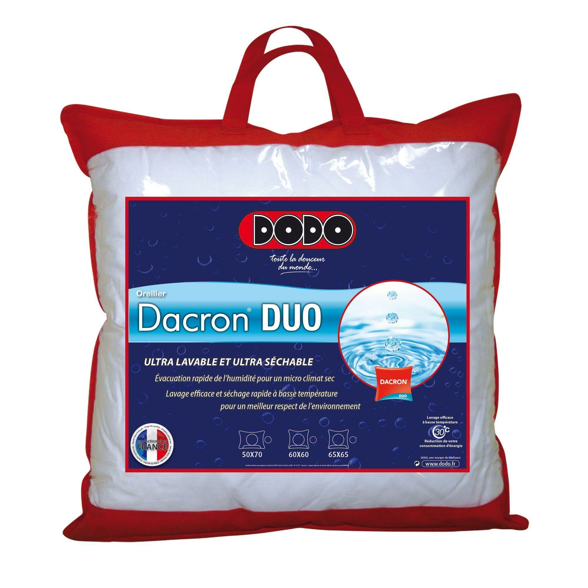 oreiller dacron duo Dodo Dacron Duo Oreiller Uni Classique Blanc 65 x 65 cm  oreiller dacron duo