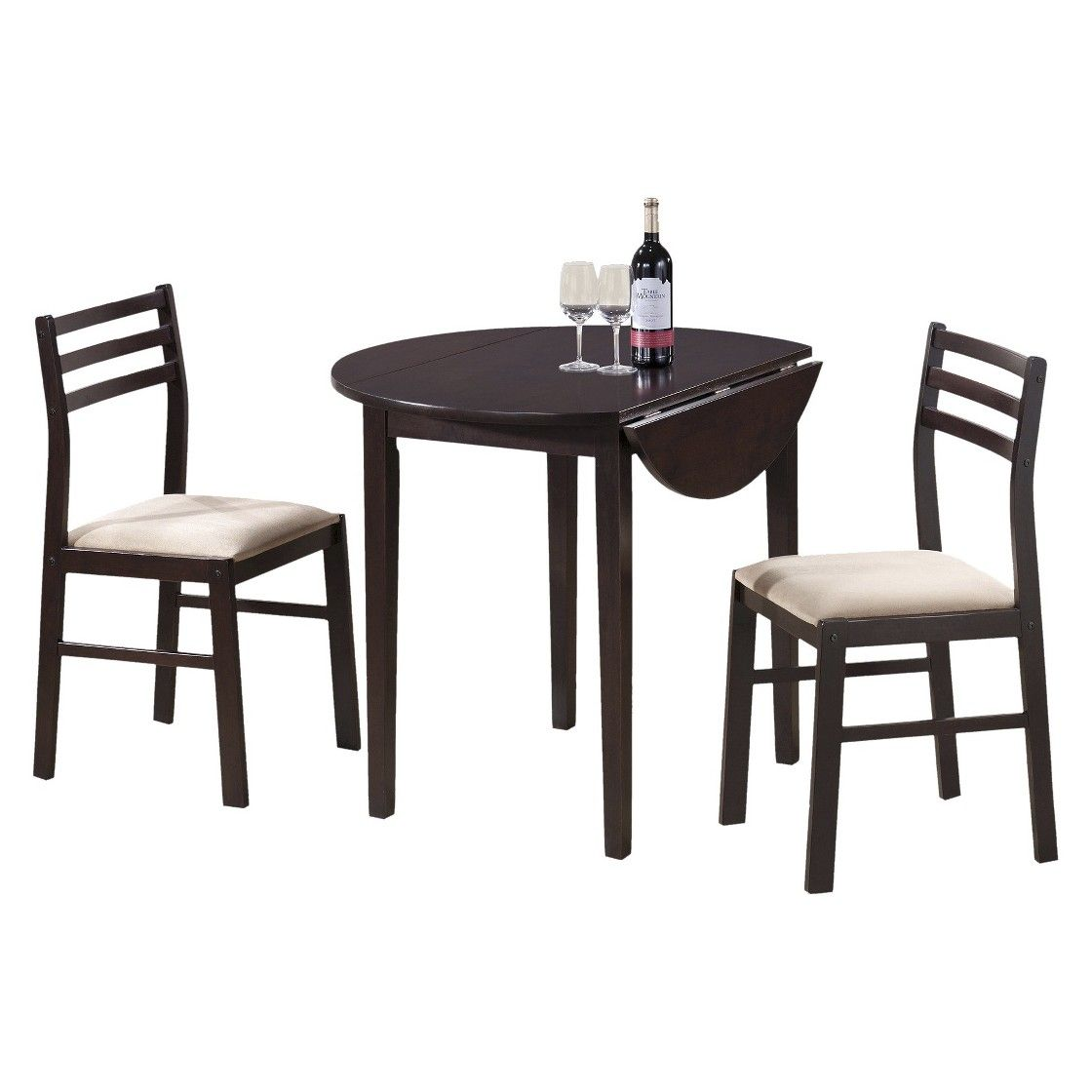 Monarch Specialties 3 Piece Drop leaf Dining Table Seat - Cappuccino