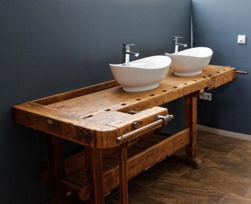 Hobelbank Als Waschtisch Zubehoer Restauriert Loft Vintage