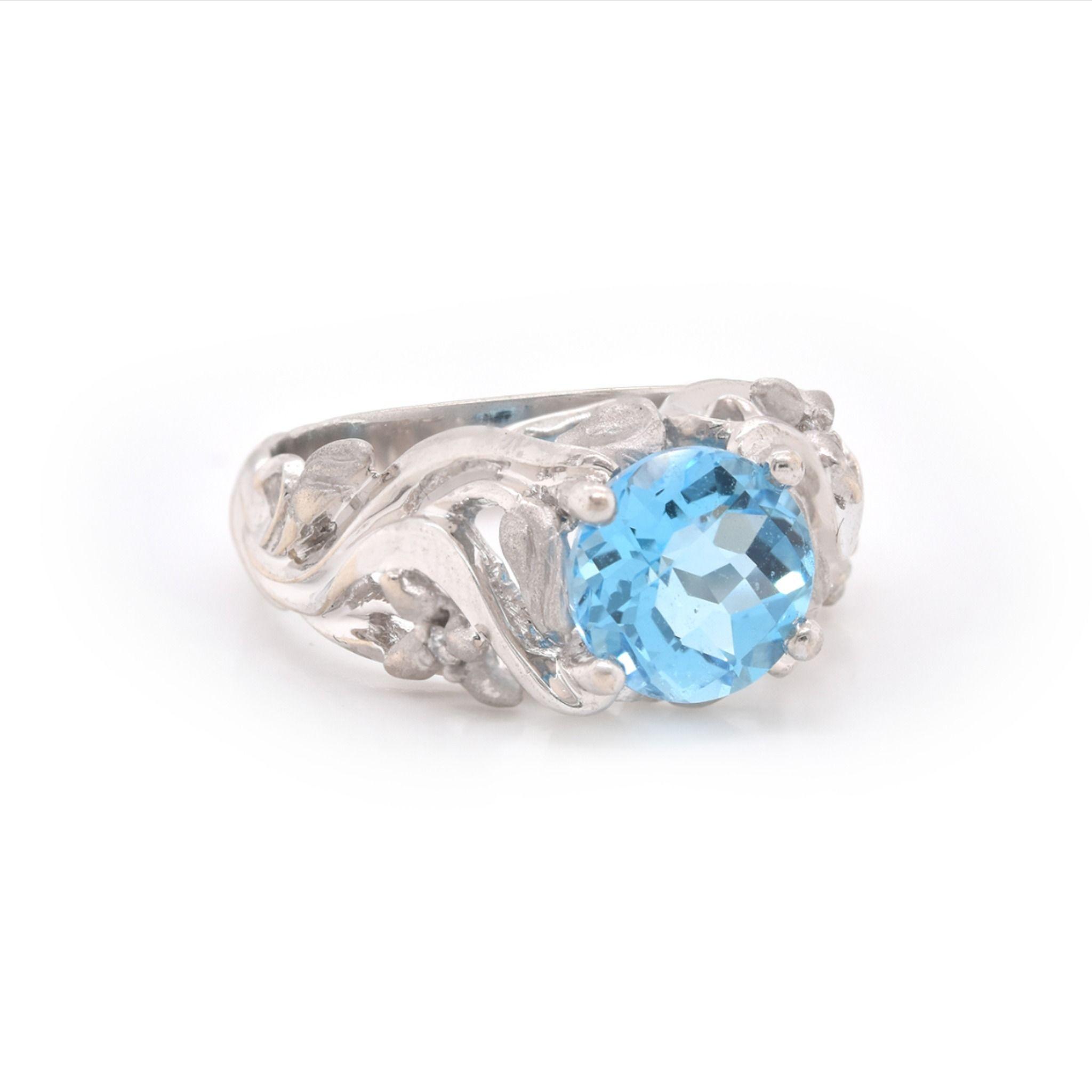 14k White Gold Round Topaz Ring 200 2189 Jewelry From The Estate Watch Jewelry Company Scottsdale Az Topaz Ring White Gold Blue Topaz Ring