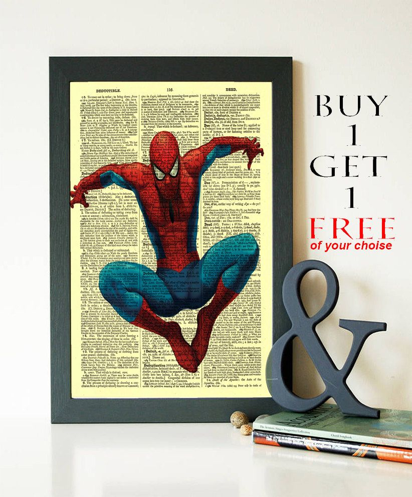Spiderman Print- Marvel Comics poster- Dictionary Print- Wall Decor ...
