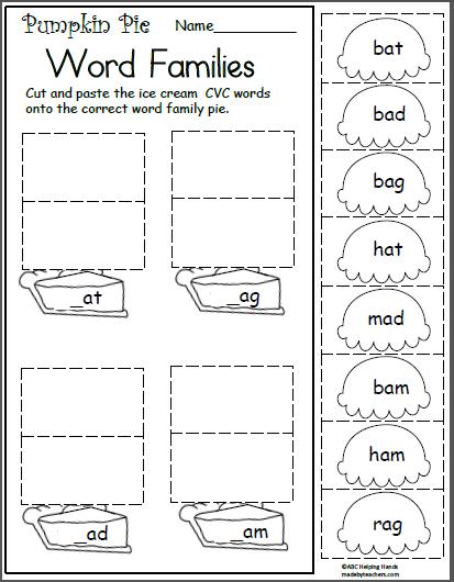 Free November Worksheets For Kindergarten Short A Word Family Madebyteachers Word Family Worksheets Word Families Kindergarten Worksheets