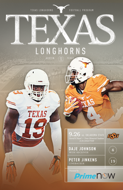 The 2015 Texassports Football Program Vs Oklahoma State September 26 Features Daje Johnson And P Texas Longhorns Football Texas Football Longhorns Football