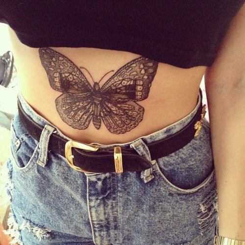 Butterfly Tattoo On The Stomach Of This Girl Tattoo Tattoos Ink Stomach Tattoos Stomach Tattoos Women Butterfly Tattoo