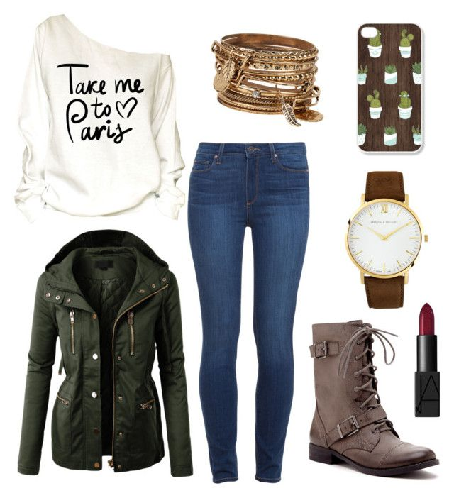 """""""Almost to the Weekend"""" by sushigirl999 ❤ liked on Polyvore featuring Paige Denim, LE3NO, Sole Society, Larsson & Jennings, ALDO and NARS Cosmetics"""