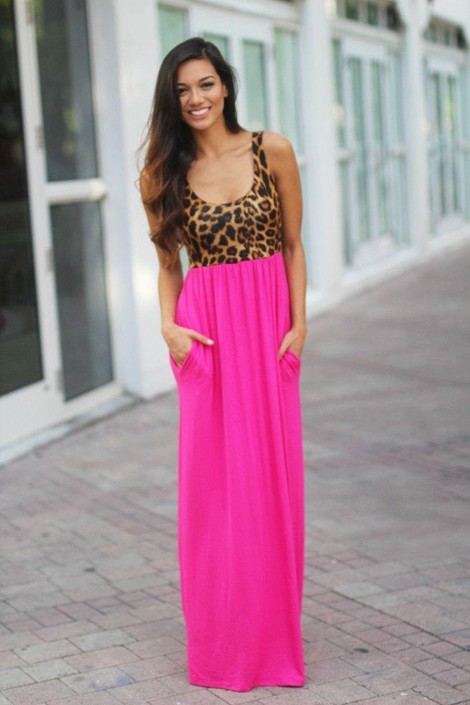 cf6cf6c8b69e04 Pink Leopard Maxi Dress with Pockets   clothing   Pink maxi, Pink ...