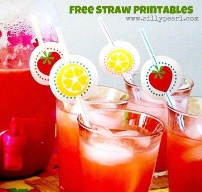 Strawberry and Lemon Straw Printables