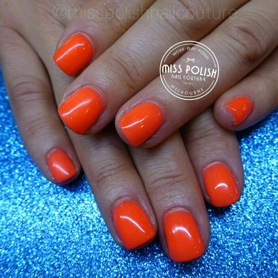Hard Gel Gel Nails Neon Nails Orange Nails Short Nails Miss