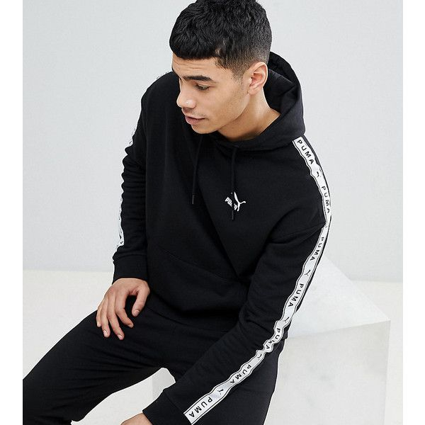 041fa24cd Puma Pullover Hoodie With Taped Side Stripe In Black Exclusive To ASOS (295  RON) ❤ liked on Polyvore featuring men's fashion, men's clothing, men's  hoodies ...