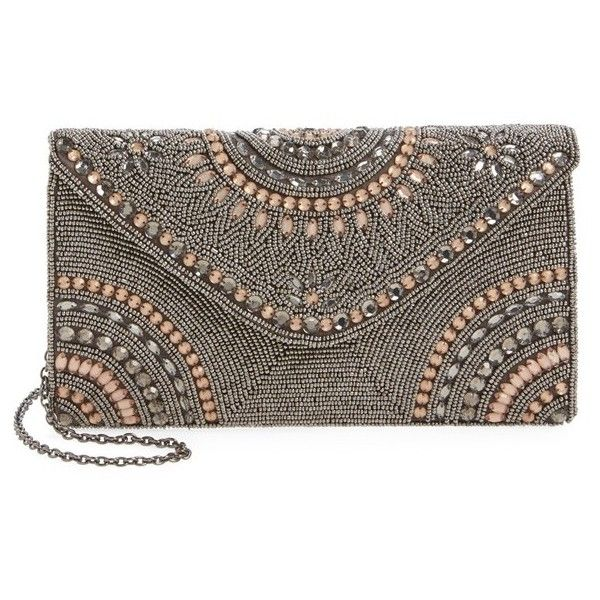 Women S Glint Alhambra Embellished Envelope Clutch 99 Liked On Polyvore Featuring Bags Handbags Clutches Pewter Brown