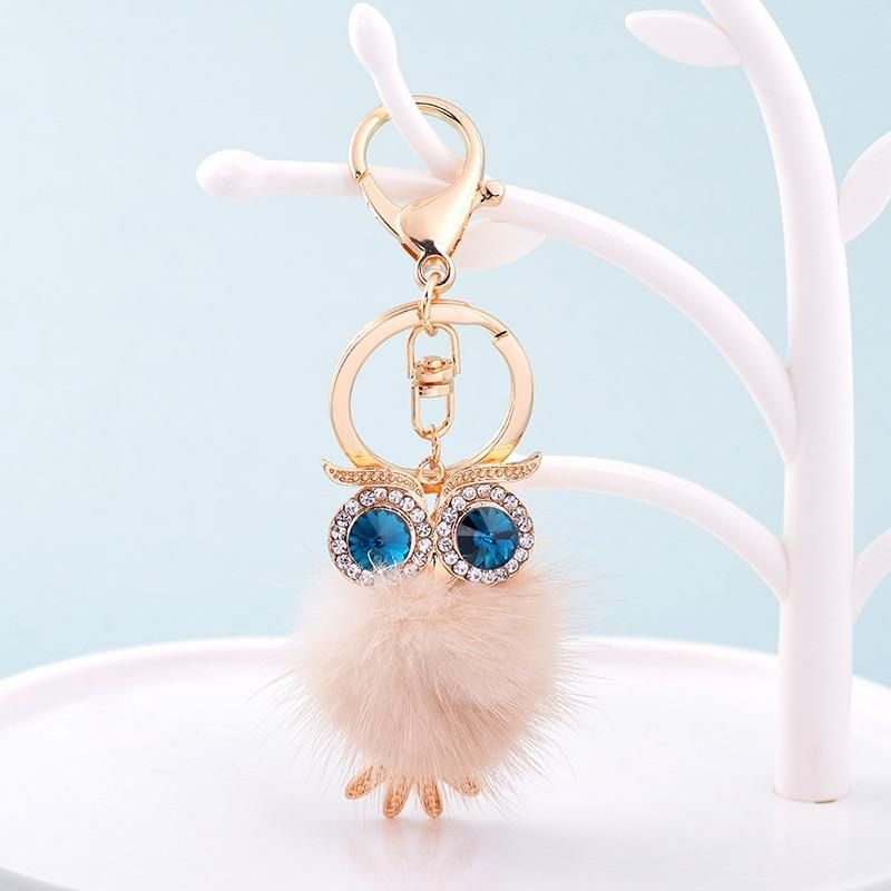 8d872eb30d5 New Cute Owl Keychains Pompom Mink Fur Ball Key Chain Car Keyrings ...