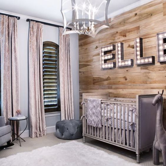 Transitional Nursery With Rustic Wood Wall