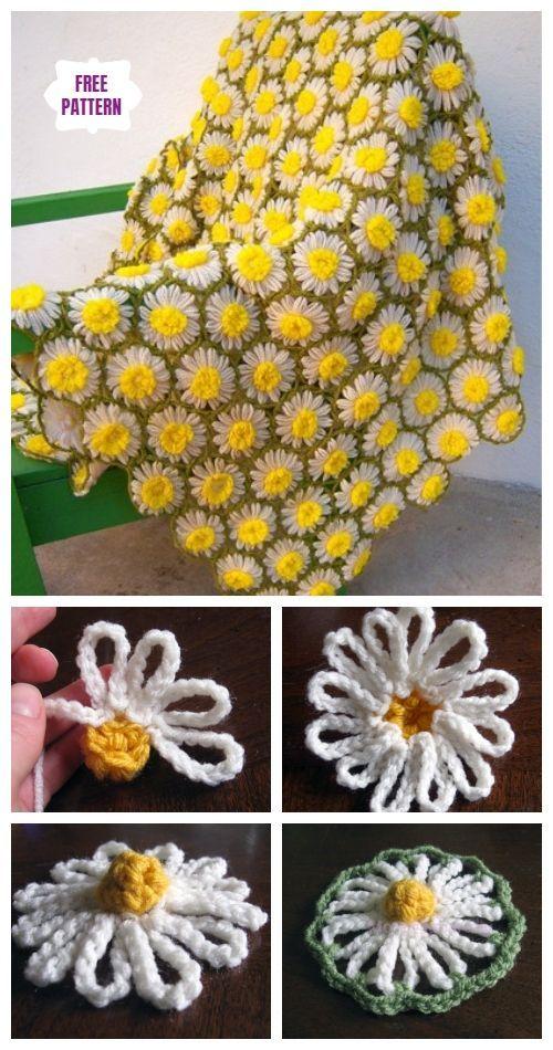 Couverture vintage de motif de marguerite au crochet bricolage modèle gratuit   – Pizza