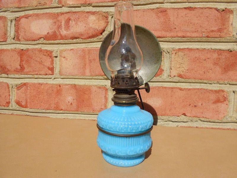 Old Antique Blue Milk Glass Miniature Oil Lamp in Metal Bracket w Reflector