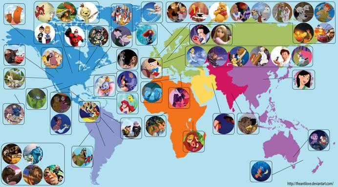 Artist creates world map locating all Disney Movies