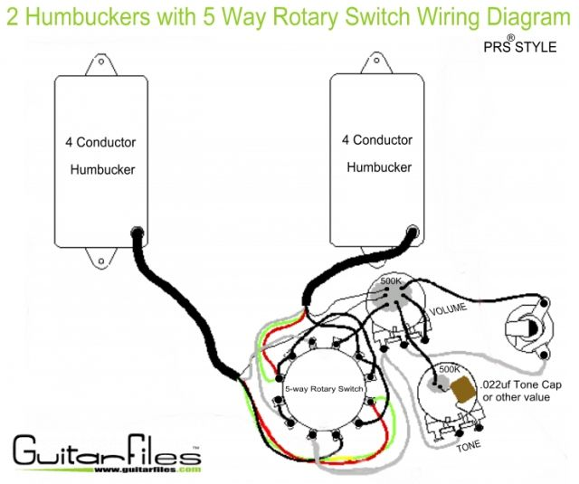 2 humbuckers with 5 way rotary switch wiring diagram guitar tech rh pinterest com rotary cam switch wiring diagram rotary switch wiring diagram guitar