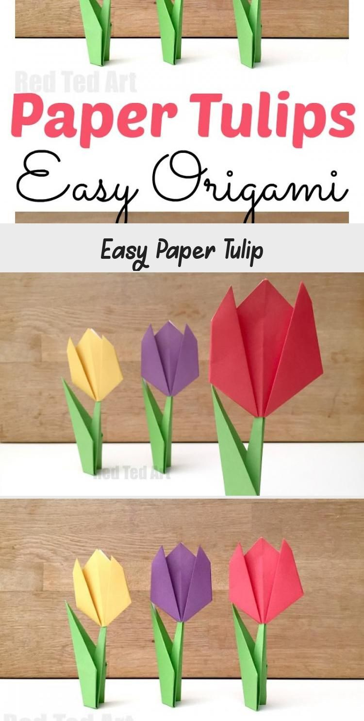 Photo of Easy Tulip Origami. Teach the kids Origami with this Paper Tulip Origami for Beg…