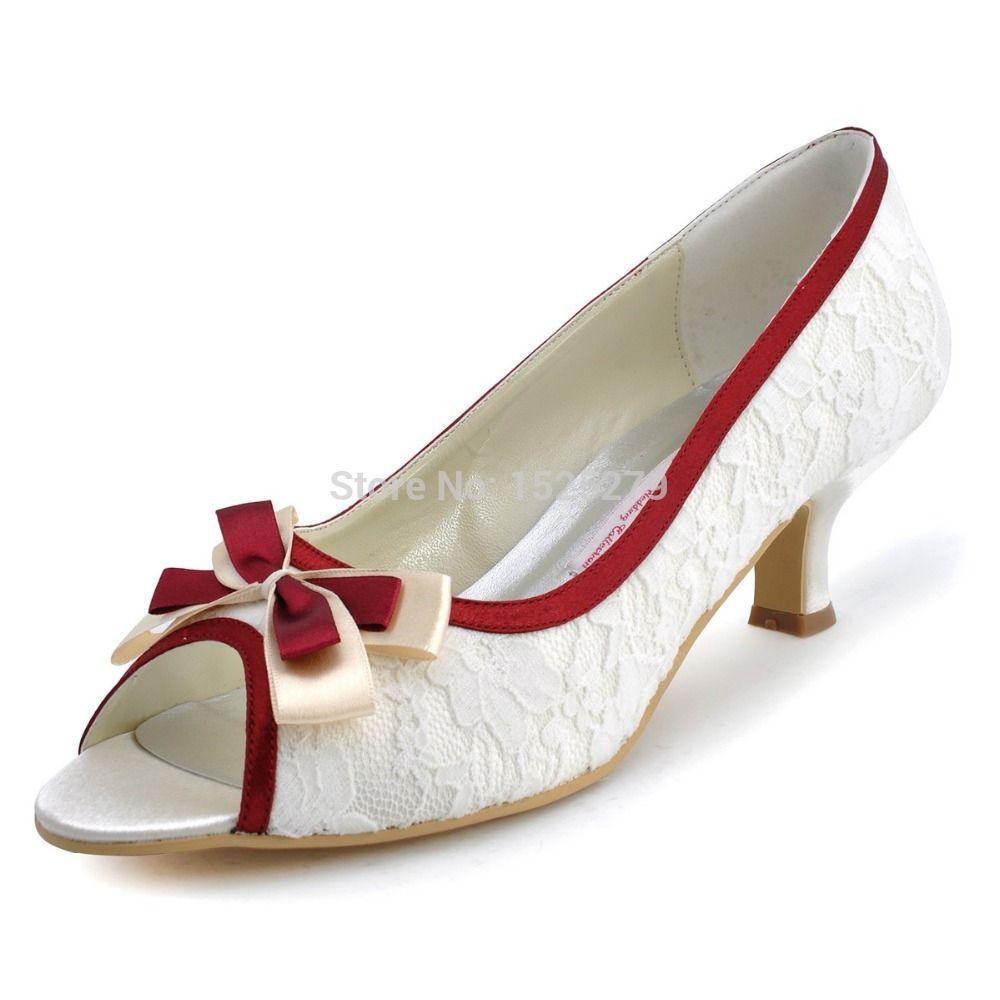 Elegantpark Women Peep Toe Kitten Low Heel Bowknot Satin Edge Lace Party  Wedding Shoes Ivory US Heel Custom Heel Custom ColorWhiteBlackChampagne