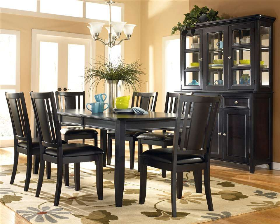 black dining room table and chairs formal dining set 718 ...
