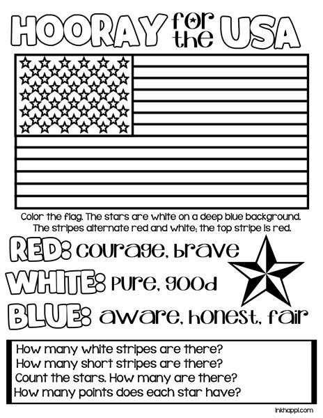 Red White Blue Usa Colors Meaning Free Printables Inkhappi Patriotic Kids Patriotic Classroom Flag Coloring Pages