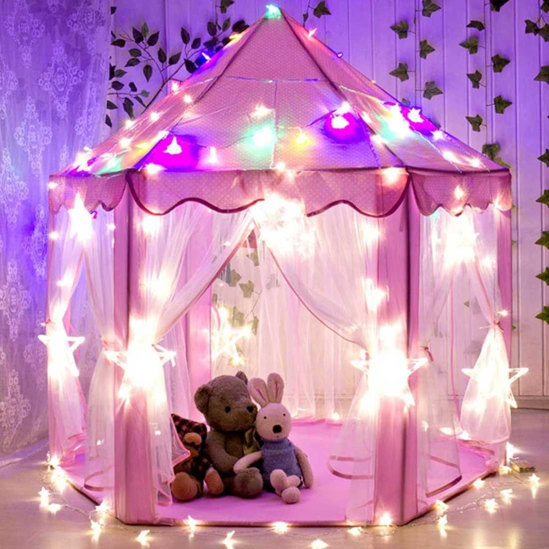 CuteKing Princess Castle Kids Play Tent Children Large Playhouse with LED Small Star Lights Pink & CuteKing Princess Castle Kids Play Tent Children Large Playhouse ...
