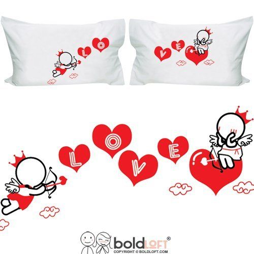 Couple pillowcases In hearts