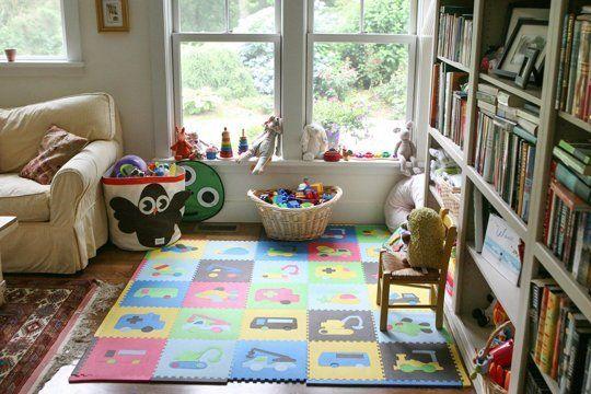 Family Living Room With Childrenu0027s Play Area Bookshelf