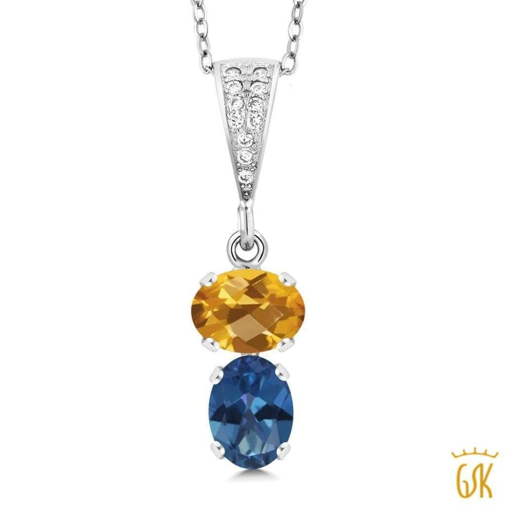 ct oval checkerboard citrine and royal blue mystic topaz