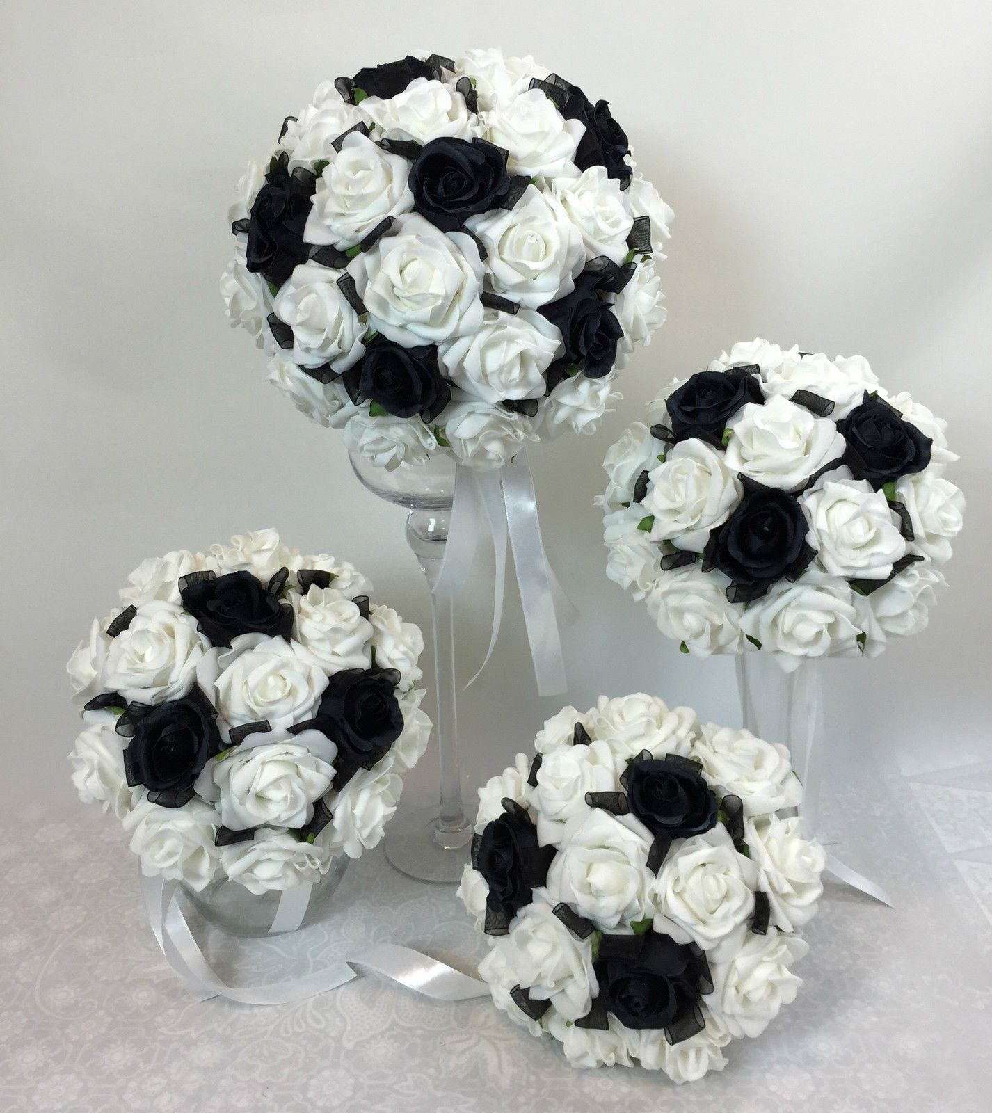 Artificial Silk Flower Black Roses White Foam Rose Bridal Wedding ...